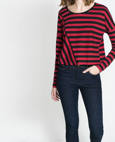 Striped T-Shirt With Diagonal Seam