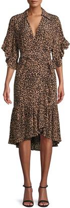 Michael Kors Leopard-Print Silk Wrap-Effect Dress