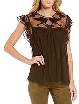 M.S.S.P. Round Neck Embroidered Lace Flutter Sleeve Blouse