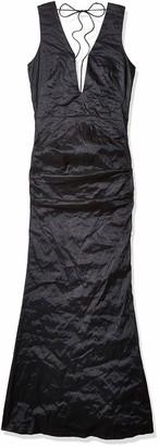 Nicole Miller Women's Solid Techno Metal Plunge Gown