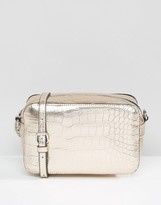 Asos Metallic Croc Boxy Cross Body Bag
