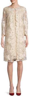 Alex Evenings Embroidered Floral Illusion Cape Dress