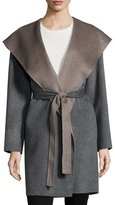 Fleurette Double-Face Hooded Wool Wrap, Gray