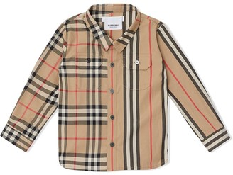 BURBERRY KIDS panelled Vintage Check and Icon Stripe shirt