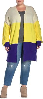 MelloDay Colorblock Stripe Knit Cardigan (Plus Size)