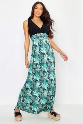 boohoo Palm Print Maxi Dress