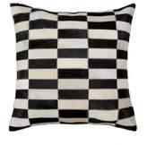Torino Linear Genuine Cowhide Pillow - 18 x 18 - Black/White