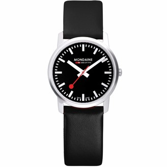 Mondaine Unisex A6383035014SBB Simply Elegant Analog Display Swiss Quartz Black Watch