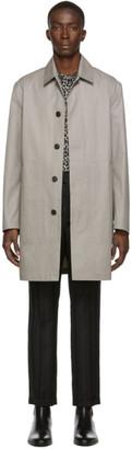 Saint Laurent Black and White Mac Trench Coat