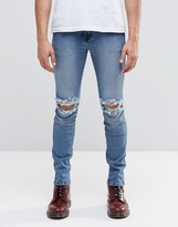 Dr Denim Jeans Snap Skinny Fit Light Stone Destroyed Wash