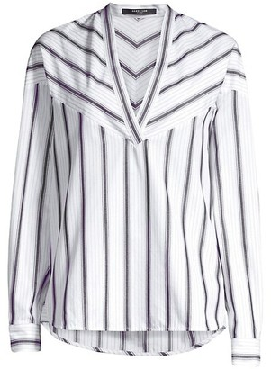 Derek Lam Stripe Cotton V-Neck Tunic