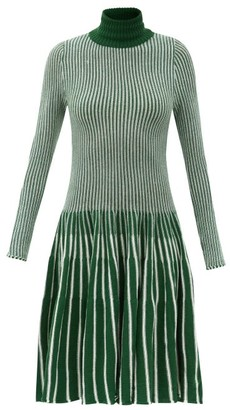 Thebe Magugu Roll-neck Striped Wool Dress - Green Stripe
