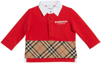 Burberry Mini Quentin Check-Panel Rugby Polo Shirt, Size 6M-2