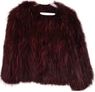 Ducie Burgundy Raccoon Jacket for Women