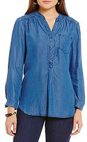 Intro Denim Stand Collar Popover Denim Tunic