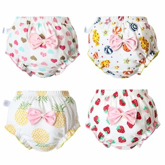 Premewish Pack of 4 Baby Girls Underwear Kids Cotton Ruffle Bloomers Toddlers Cartoon Potty Training Pants Diapers Cover Knickers 1-5 Years