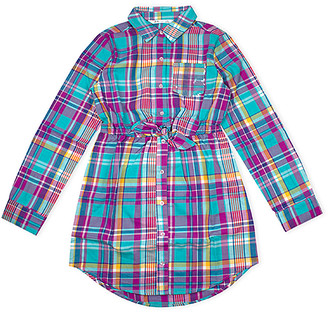 Aeropostale p.s. from Girls' Casual Dresses NAVY - Navy Plaid Pocket Tie-Front Shirt Dress - Girls