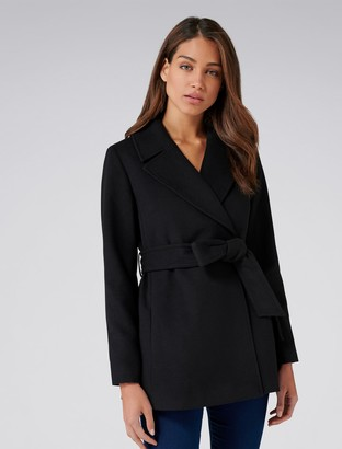 Forever New Anna Crop Wrap Coat - Black - 4