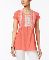 Style&Co. Style & Co Embroidered Lace-Trim Top, Only at Macy's