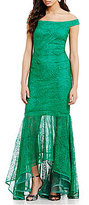 Kay Unger Off-The-Shoulder Crochet Lace High Low Gown