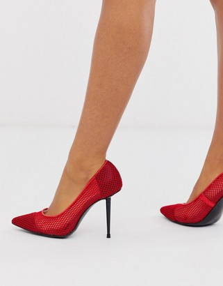 ASOS DESIGN Parker stiletto court shoes in red mesh