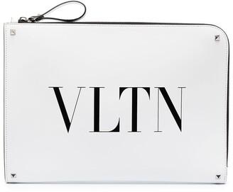 Valentino Logo-Print Oversized Clutch