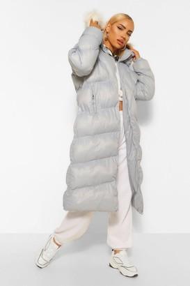 boohoo Diamond Quilt Faux Fur Trim Puffer