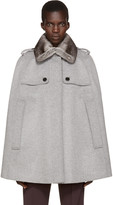 Burberry Grey Fur Collar Wolesley Cape