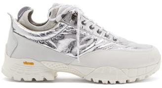 ROA Neal Metallic Suede Hiking Shoes - White Silver