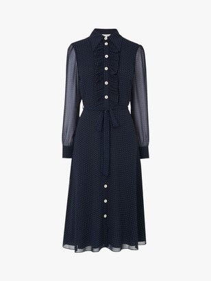 LK Bennett Ensor Polka Dot Shirt Dress, Navy