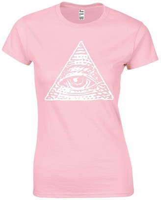 JLB Print The All Seeing Eye Symbol Occult Themed Premium Quality Fitted T-Shirt Top for Women and Teens Baby Pink
