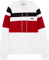 MSGM Crystal-embellished Striped Jersey Hooded Top - White