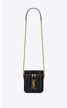 Saint Laurent Vicky Vanity In Quilted Patent Leather