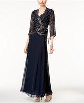 J Kara Beaded Faux-Wrap Gown