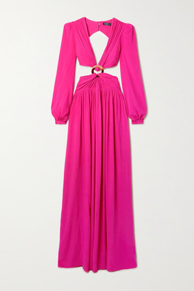 PatBO Cutout Neon Crepe Maxi Dress - Fuchsia