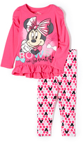 Children's Apparel Network Minnie Mouse Pink Ruffle Pullover & Pants - Girls