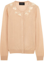 Simone Rocha Embellished Merino Wool, Cashmere And Silk-blend Cardigan - Beige