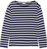 Saint Laurent Button-detailed Striped Cotton-jersey Top - Midnight blue