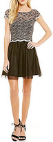 Jump Two-Tone Scalloped Lace Bodice Fit-and-Flare Party Dress