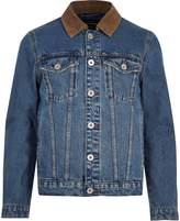 River Island Mens Blue corduroy collar denim jacket