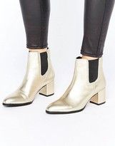 Park Lane Metallic Leather Heeled Chelsea Boots