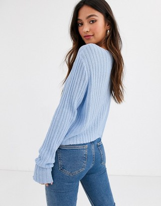 New Look button down cardigan in blue