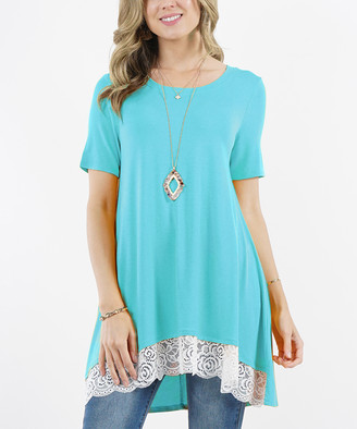 Ash Lydiane Women's Tunics ASHMINT Mint Short-Sleeve Lace-Trim Hi-Low Tunic - Women