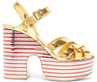 Miu Miu Mirrored-platform Metallic-leather Sandals - Gold