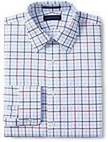 Classic Men's Tall Tailored Fit Pattern Supima No Iron Pinpoint Straight Collar-White/Admiral Blue Stripe