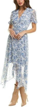 The Kooples Puff-Sleeve Flowers Muslin Midi Dress