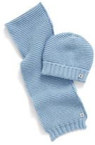 Armani Junior Infant Boy's Cotton & Wool Knit Scarf & Hat Set - Blue