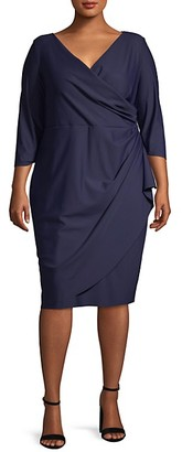 Alex Evenings Plus V-Neck Knee-Length Dress