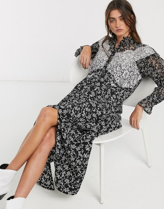 Topshop midi dress with lace insert in monochrome