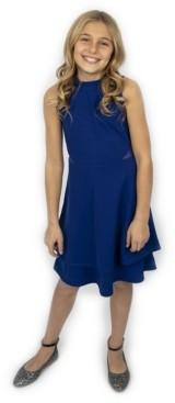 Emerald Sundae Big Girls Mock Neck Illusion Double Skirt Dress